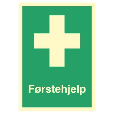 Førstehjelp skilt med tekst - Kjøp Nødskilt online
