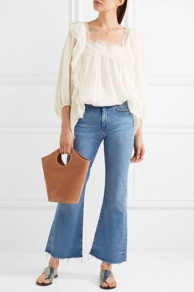 M.i.h Jeans - Lou Frayed High-rise Flared Jeans - Blue
