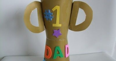 Make a Father's Day Trophy Craft from paper cups for the #1 Dad.   Materials:    2 paper cups  masking tape  construction pa...