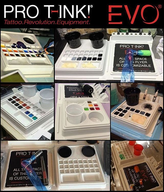 EVO tattoo worksattions are designed for Tattoo Artists to take their workspace to the next level! Hygienic practical and safe available in 10/24 cups. More info  http://www.pro-t-ink.com  . Facebook: Pro T-Ink Instagram: @pro_t_ink . #protink #evo #evo10 #evo24 #tattooworkstation #inkpalette #inktrays #tattoosetup #tattooequipment #tattoosupply #tattoosupplies #tattoorevolution #inkcups #tattooink #quicktattoosetup #stopcrosscontamination
