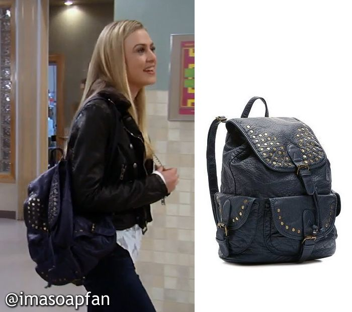 Kiki Jerome's Blue Studded Backpack - General Hospital, Hayley Erin #GH #GeneralHospital Fashion #imasoapfan