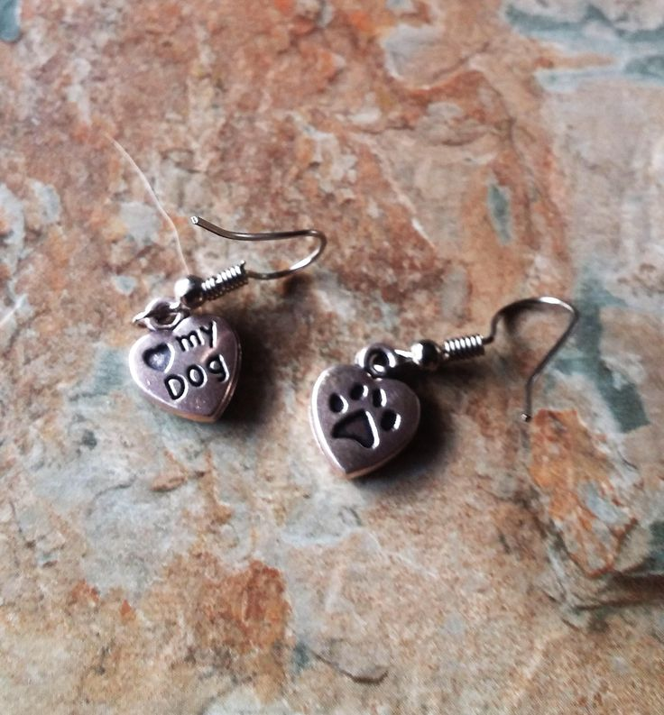 Silver Heart with, I Heart My Dog on one side &  Paw Print on the other, Ladies Earrings, Dangle Earrings, Handmade Earrings, Gifts for Her by SpryHandcrafted on Etsy
