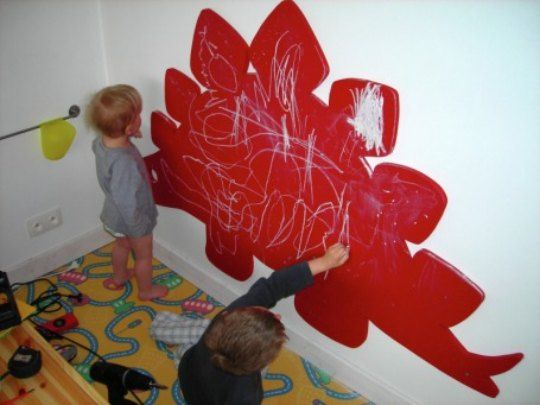 Instead of a boring ole square, paint a chalkboard into a fun shape. Maybe Molly would like a butterfly instead of a stegosaurus. Also, paint an actual chalkboard and hang it as opposed to painting on the actual wall.