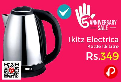 Shopclues #AnniversarySale is offering 73% off on Ikitz XD1518G 1.8 Litre Electric Kettle at Rs.349 Only. Ikitz Stainless steel electric kettle has a high capacity of 1.8 litres that will take care of your hot water needs and will automatically switch off when there is hot water in it or whenever it is overheated.  http://www.paisebachaoindia.com/ikitz-electric-kettle-1-8-litre-at-rs-349-only-shopclues/