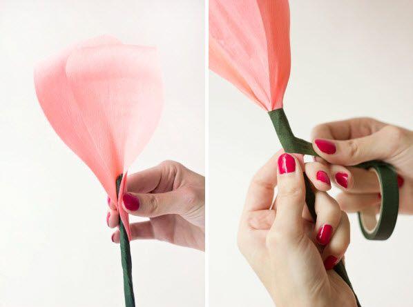 fabrication d'une rose en papier crepon