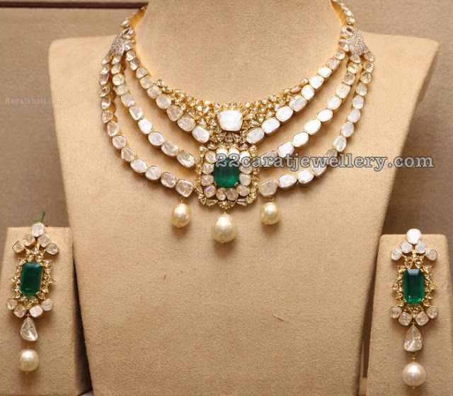 3 Rows Pachi Necklace by Musaddilal