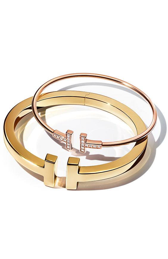 0ed0d56653 Tiffany T bracelets in 18k yellow and rose gold. | Tiffany T in 2019 ...