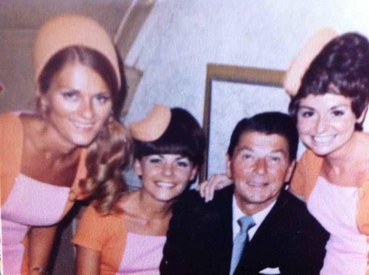 """Pacific Southwest Airlines """"PSA"""" stewardesses with Ronald Reagan, early 1970's"""