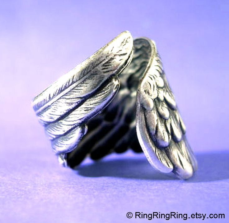 Dark antiqued silver ring jewelry, Adjustable Bird Wing ring, detailed feather ring, for men and women /. $29.00, via Etsy.