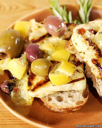 Grilled Halloumi CheeseOlive Oil, Halloumi Cheese, Chees Recipe, Grilled Halloumi, Preserves Lemon, Martha Stewart, Grilled Cheeses, Cheese Recipes, Chees Foodcheeseplea