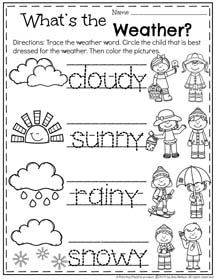 Preschool Weather Worksheet for Spring