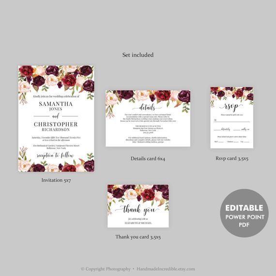 Marsala Hochzeits Einladungs Satz Burgunder Blumenhochzeit Etsy Blumenhochzeitseinladungen Marsala Hochzeit Einladungsvorlage