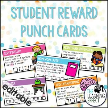 Student Incentive Punch Cards {Editable} | The Learning Effect