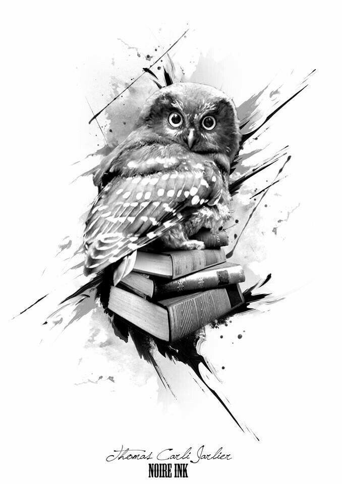 Owl with books tattoo design