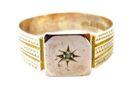 Antique Victorian 1853 Birmingham Unisex Diamond Star Signet Engagement or Wedding Ring in 9ct Rose Gold FREE POSTAGE by GloryBeVintageWares on Etsy