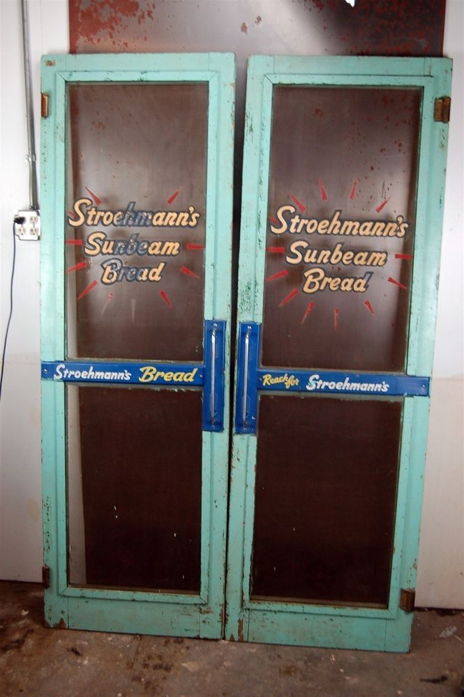 vintage Stroehmann's Sunbeam Bread screen doors push general store sign  painted #sunbeam - The 101 - Antique Screen Door Push Bar Antique Furniture