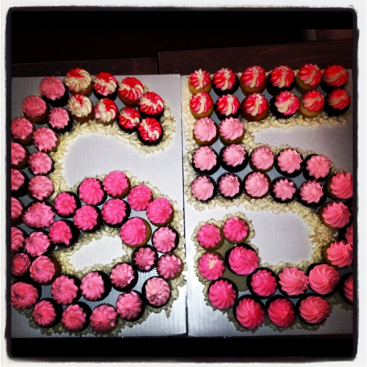 """Pull apart 65th Birthday """"cake"""" #little #sweet #cakes #cupcakes these are mini cupcakes but we have them available in both sizes."""