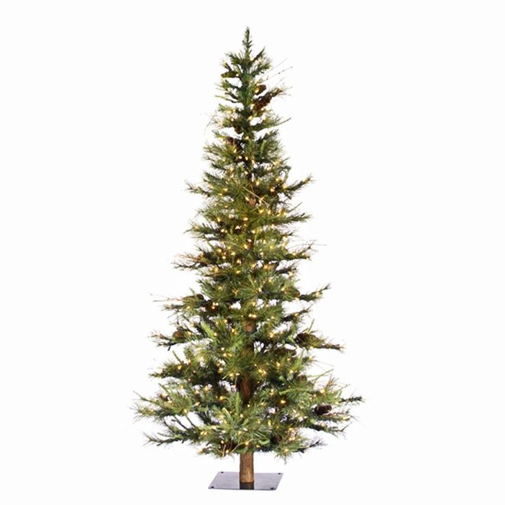 Ft ashland fir slim pre lit christmas tree with wood trunk www