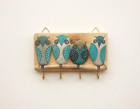 RESERVED - Key Holder, Wall Hook, Wood Key Holder Wall Decor, Wall Hanging Key Holder, Owl Wall Decor