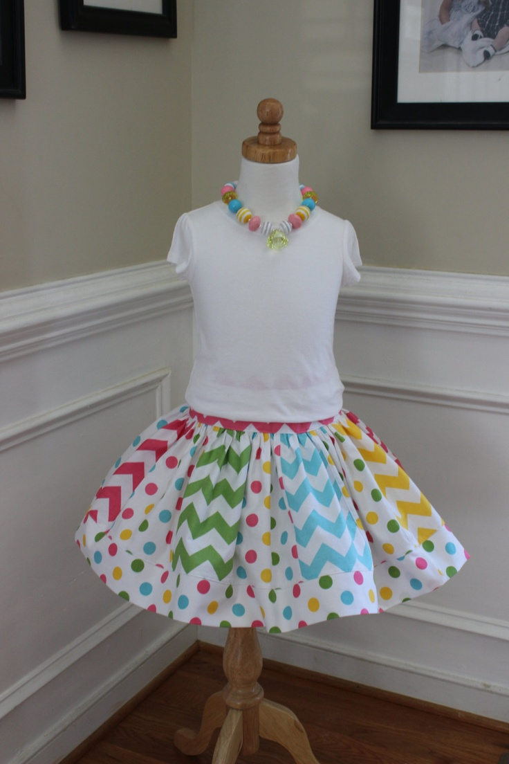 LOVE this super cute chevron and dot skirt for baby girl.