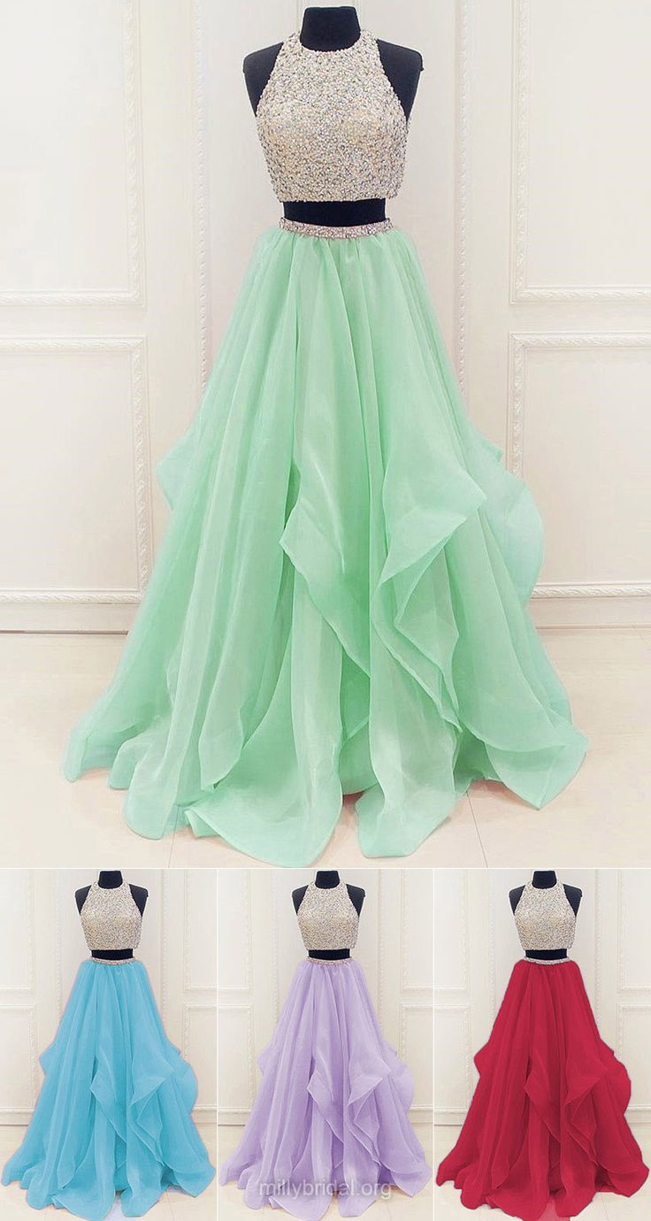 2018 Prom Dresses Two Piece, Long Party Dresses Princess, Modest Formal Dresses Scoop Neck, Organza Evening Gowns Beading