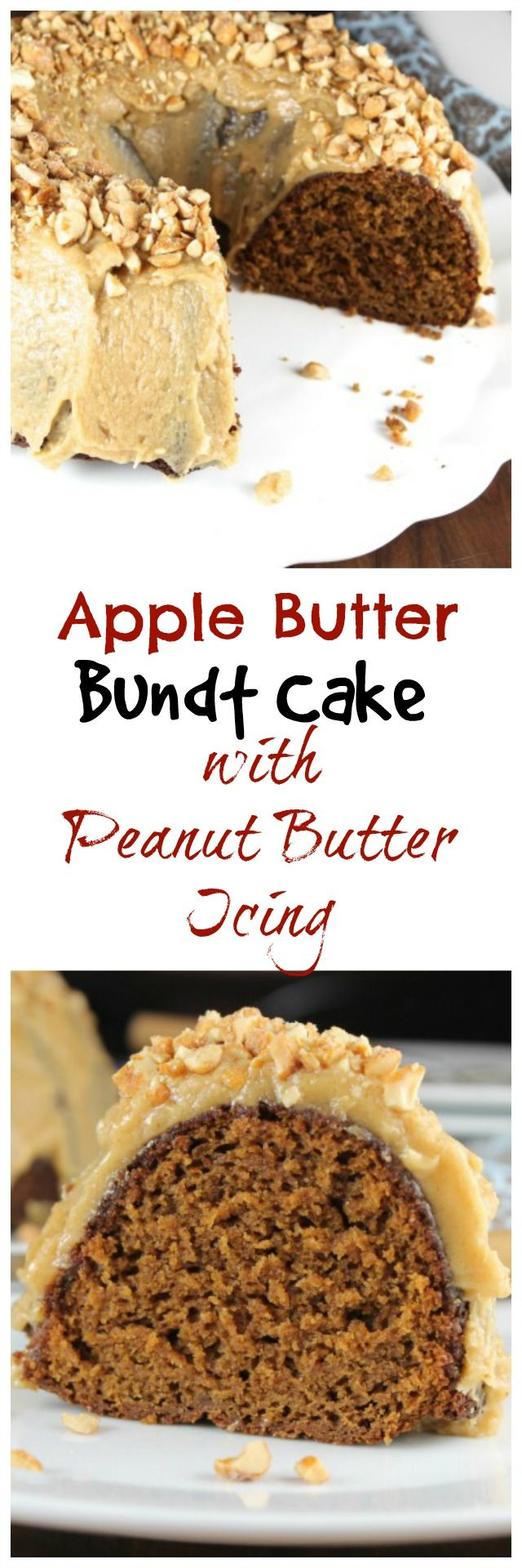 Apple Butter Bundt Cake with Peanut Butter Icing Recipe from MissintheKitchen.com