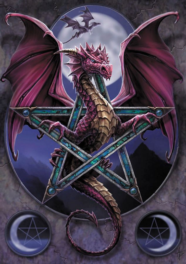 Lunar Magick Dragon Pentacle and Moon Greeting Card - Blank Inside With a dragon symbol sketched on the inside flap. Beautiful Artwork by UK Artist Anne Stokes - printed in the United Kingdom with veg