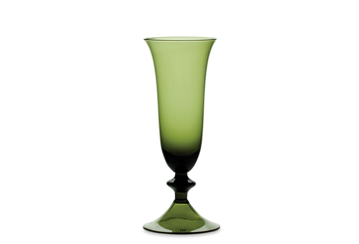 One Kings Lane - Diane von Furstenberg - S/4 High Rise Flutes, Avocado