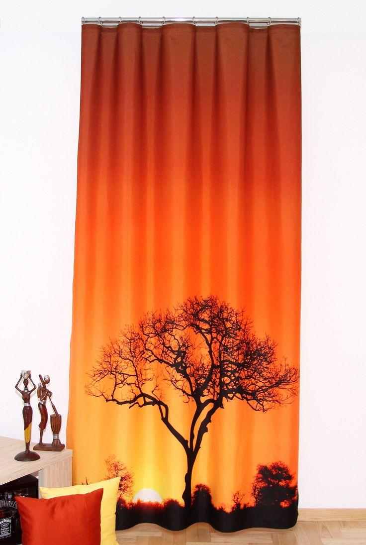 Hotový závěs na okno 3D s potiskem s africkým vzorem
