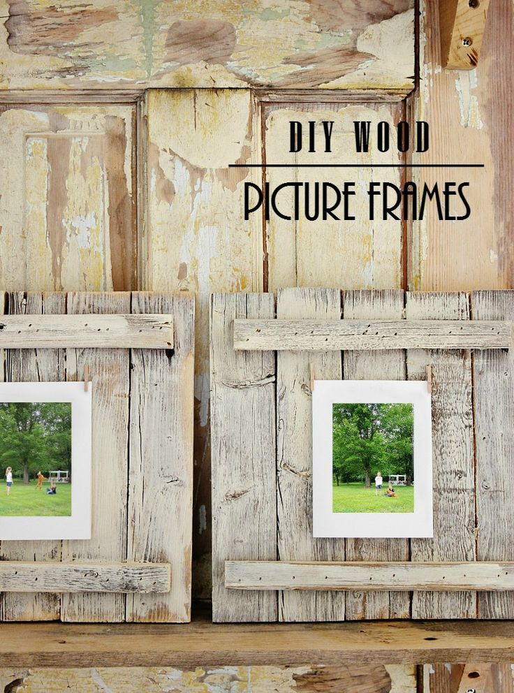 DIY Wood Picture Frames Supplies  5 pieces of 1″ x 2″ x 10″ wood  2 pieces of 1″ x 1″ x 8″ wood  wood glue  gray paint  tiny clothespins