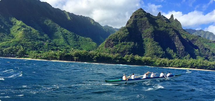 The Na Pali coast challenge is one of the most beautiful coastlines you'll ever have the pleasure to paddle in an outrigger canoe race. This picture features the owner of KIALOA, Meg Chun, and her team in 2015.