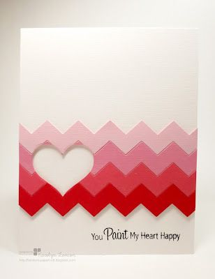 These chevrons are made using a die cut, but you can also handcut some.  Use different colors of pink to achieve this ombre effect.  Cut out a heart and add a sentiment for this DIY Valentine's card.