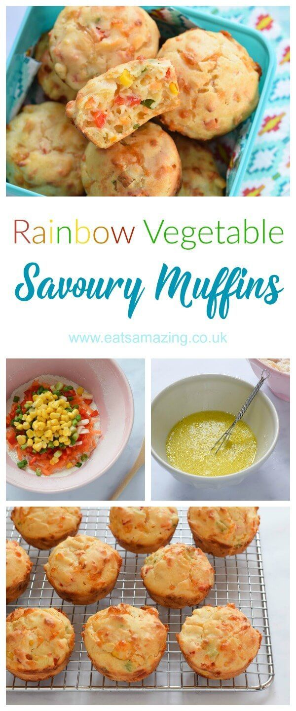 Easy rainbow vegetable savoury muffins recipe - fun and healthy kid friendly picnic food idea from Eats Amazing UK