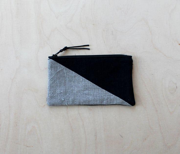 Linen Colorblock Pouch, Minimal Geometric Phone Case, Monochrome Zipper Bag, Black and Natural Zipper Pouch, Eco Friendly Nordic Design by DesignSandberg on Etsy