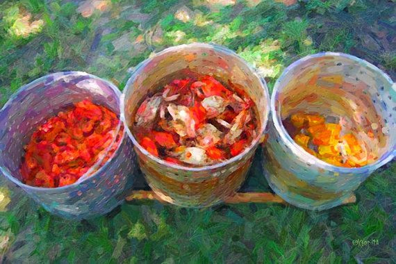 Shrimp and Crab Boil 8x12 Glicee Print Summertime by korpita