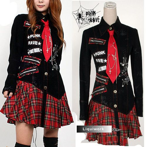 rock clothing | Black Red Plaid Punk Rock Gothic Clothing Shirt Dresses Women SKU ...