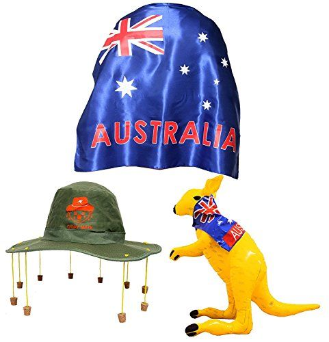 From 6.99 Australia Day Fancy Dress Set Large Wearable Satin Aussie Flag Cape  Cork Hat With Koala Print Emblem  Yellow Inflatable Kangaroo Oz Costume Dundee Rugby