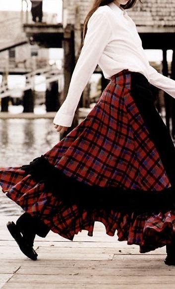 Vogue 2006, designer red and black tartan skirt.