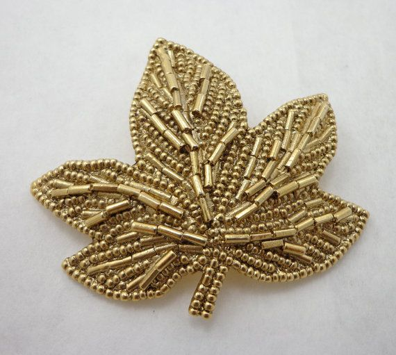 Leaf Brooch Pin Gold Tone 1928 Large 3 20s by JellyBellyJewels
