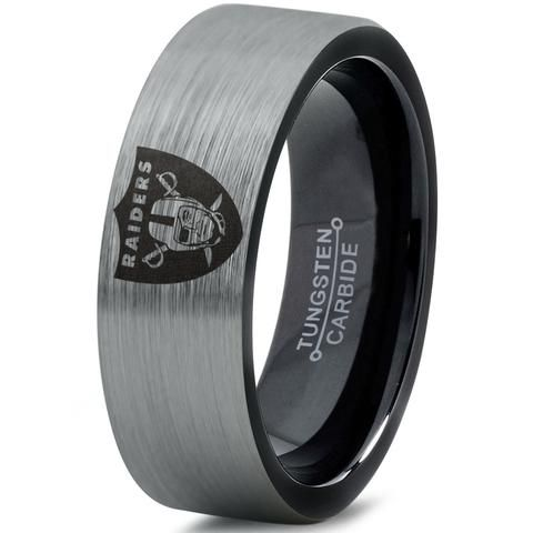 High Quality In Style!  Tungsten Carbide Oakland Raiders Engraved Football Ring.★ Comfort Fit ★ 9mm★ Black Enamel Plated★ Sizes 5-15 including 1/2 sizes ★ Hypoa