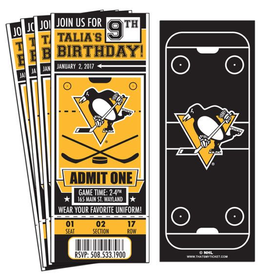 12 Pittsburgh Penguins Custom Birthday Party Ticket Invitations - Officially Licensed by NHL