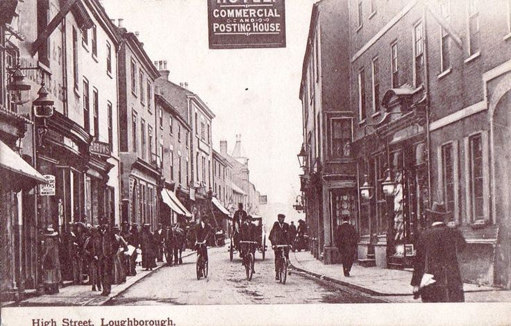 View of High Street in Loughborough looking towards Leicester Road, in a postcard picture of circa 1900.