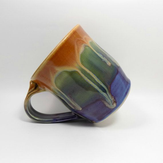 Multicoloured Stoneware Mug Rainbow Tea Mug Ceramic by ZozPots