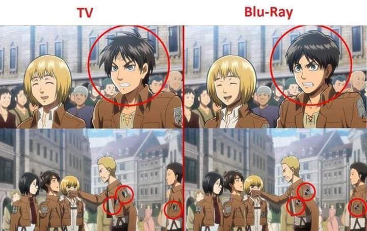 TV vs. Blu-Ray 0.0   Attack on titan