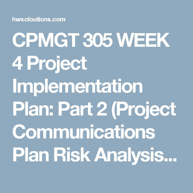Cpmgt  Week  Project Implementation Plan Part  Project