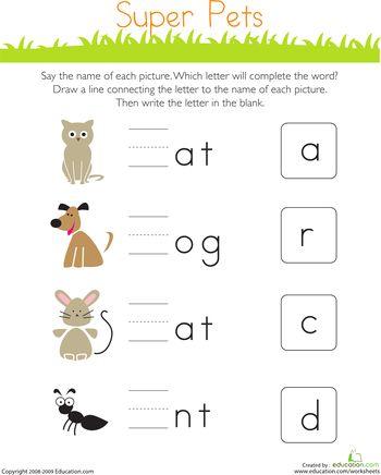 write the missing letter super pets kindergarten. Black Bedroom Furniture Sets. Home Design Ideas