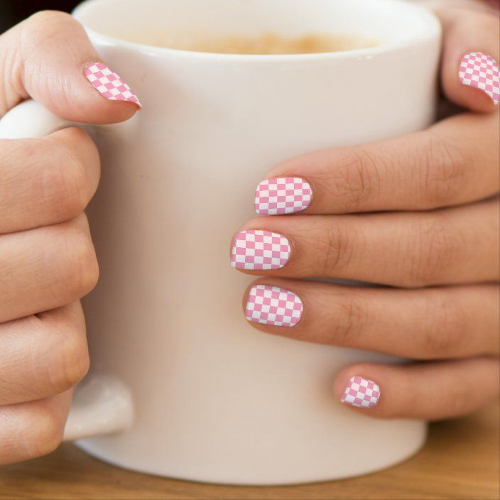 Carnation Pink And White Checkerboard Minx Nail Art In 2020 Pink Nail Art Minx Nails Zebra Print Nails