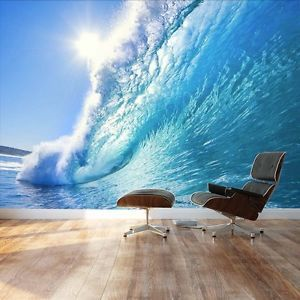 Clear Ocean wave and dream surfing destination - Wall Mural- 100x144 inches