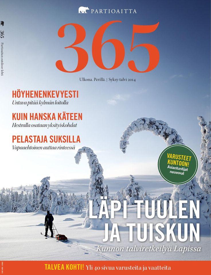 Partioaitta 365 #2 2014  365 on Partioaitan julkaisema outdoor-lehti. Ammattilaisten tuottaman toimituksellisen osion lisäksi se pitää sisällään laajan katsauksen tuotevalikoimaamme. 365:n artikkelit käsittelevät ulkoilua, elämyksiä ja luontoa. Lisäksi lehti tarjoaa osaavien retkeilijöiden ja erikoiskaupan ammattilaisten antamia hyviä vinkkejä muun muassa vaatteiden valintaan, jalkineiden hoitoon ja ulkoiluvarusteiden hankintaan.