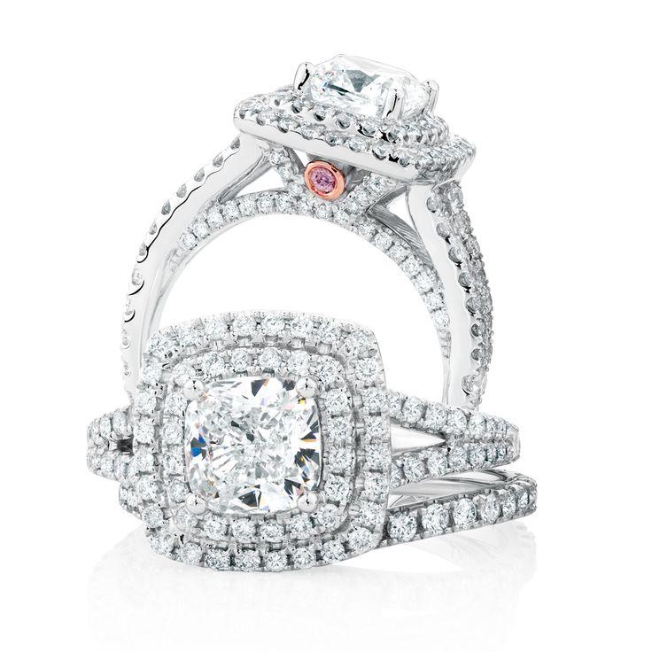The Michael Hill Designer Bridal Collection | Cushion cut center diamond Arpeggio bridal set.